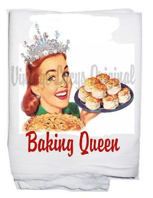 Baking queen   tea towel