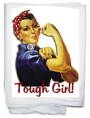 Tough girl rosie riviter  tea towel
