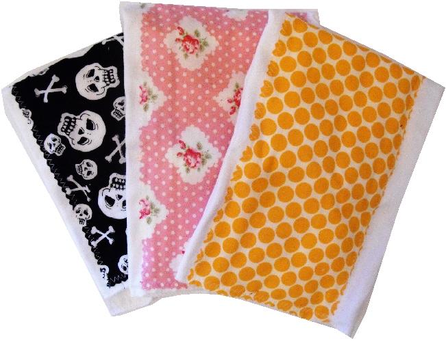 Girly Punk Rock burp cloth bundle
