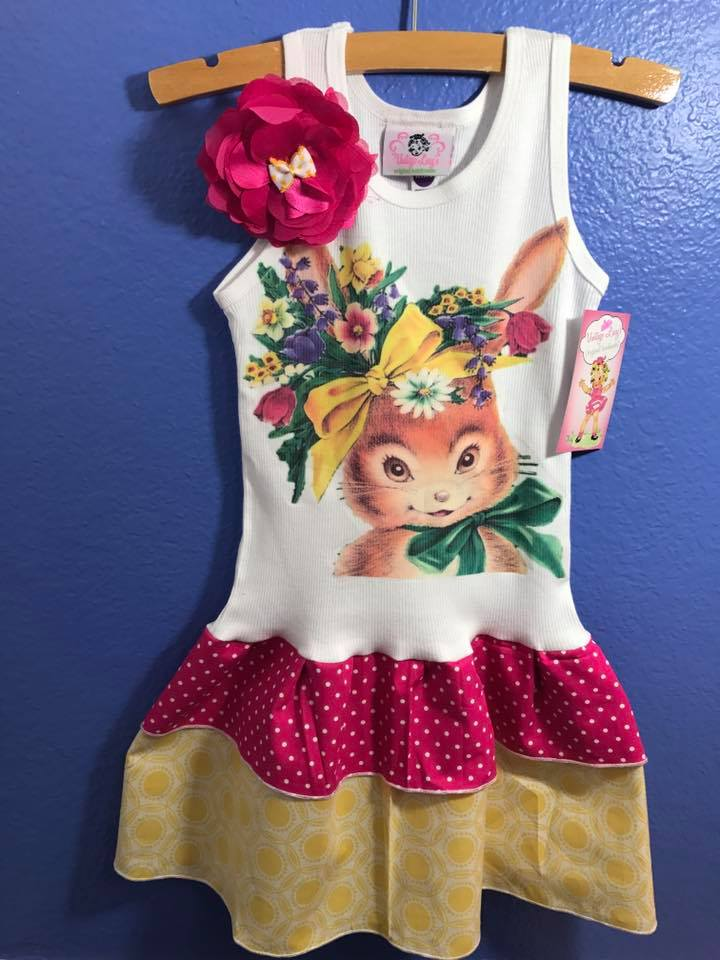 Brown Floral Bunny Tank Dress