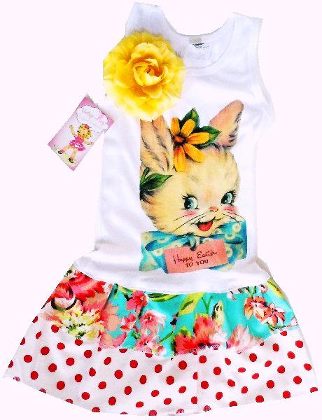 1950s Easter girl bunny double Ruffle Dress