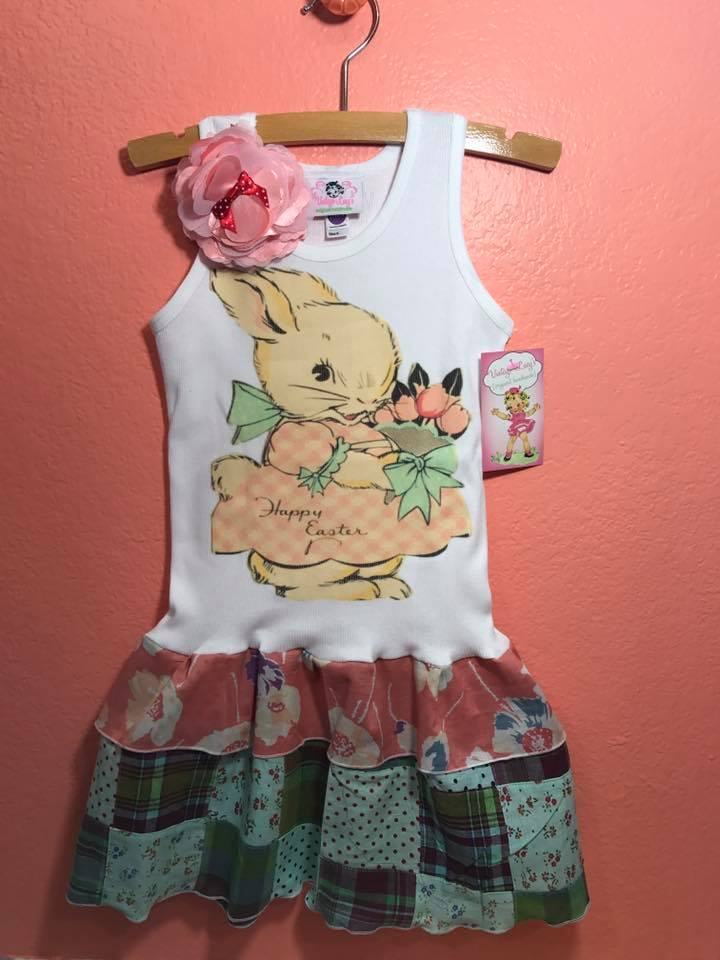 """Happy easter"" vintage bunny double ruffle tank dress"