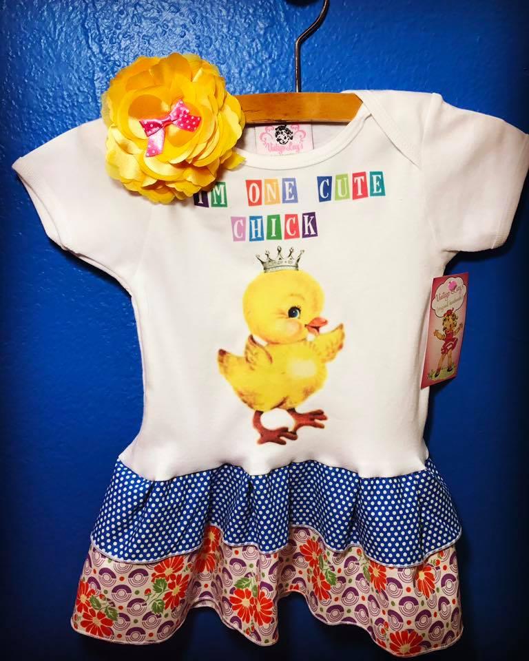"""I'm one Cute chick"" double ruffle tank dress"