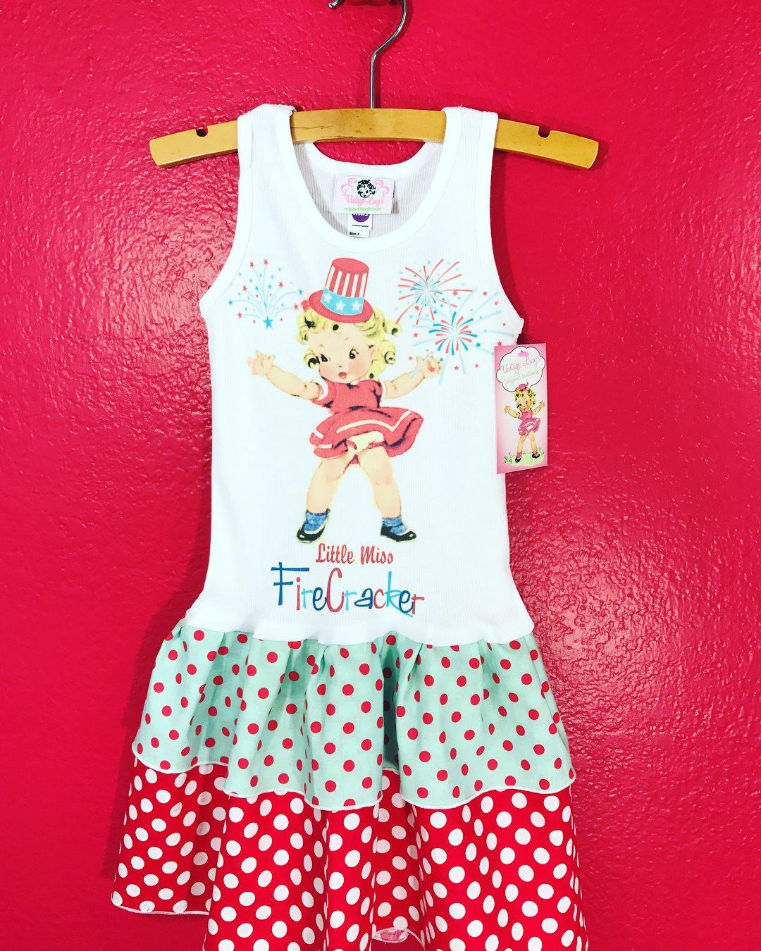 little miss firecracker tank dress double ruffle