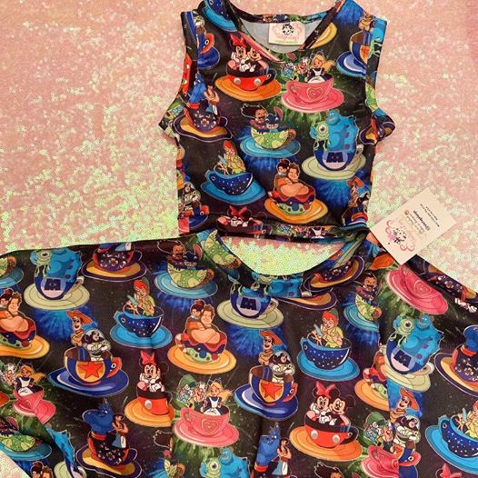 Crazy Teacups top and skirt with pockets