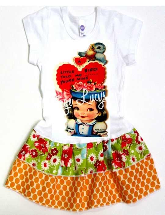 Valentine little birdie told me Double Ruffle Dress